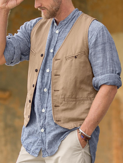 Casual V Neck Plain Vests