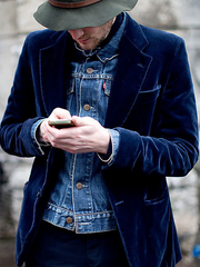 Blue Casual Lapel Outerwear