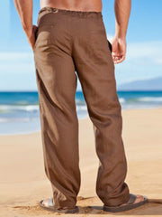 Brown Casual Cotton Pants