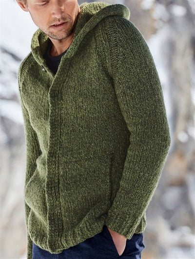 Green Wool Blend Hoodie Casual Solid Sweater