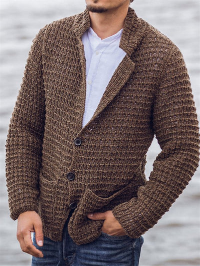 Brown V Neck Casual Knitted Sweater