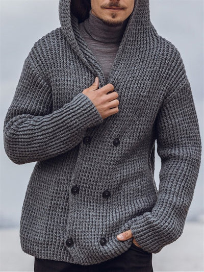 Gray Casual Hoodie Knitted Sweater