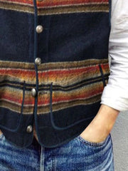 Black Printed Casual Vests