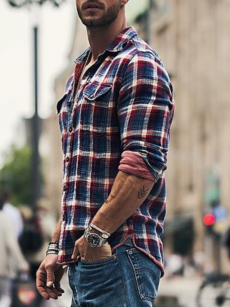 Blue Shirt Collar Casual Shirts & Tops