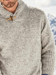 Gray Shawl Neck Plain Casual Sweater
