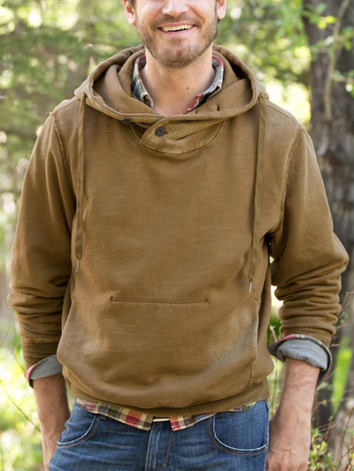 Brown Casual Hoodie Plain Sweatshirt