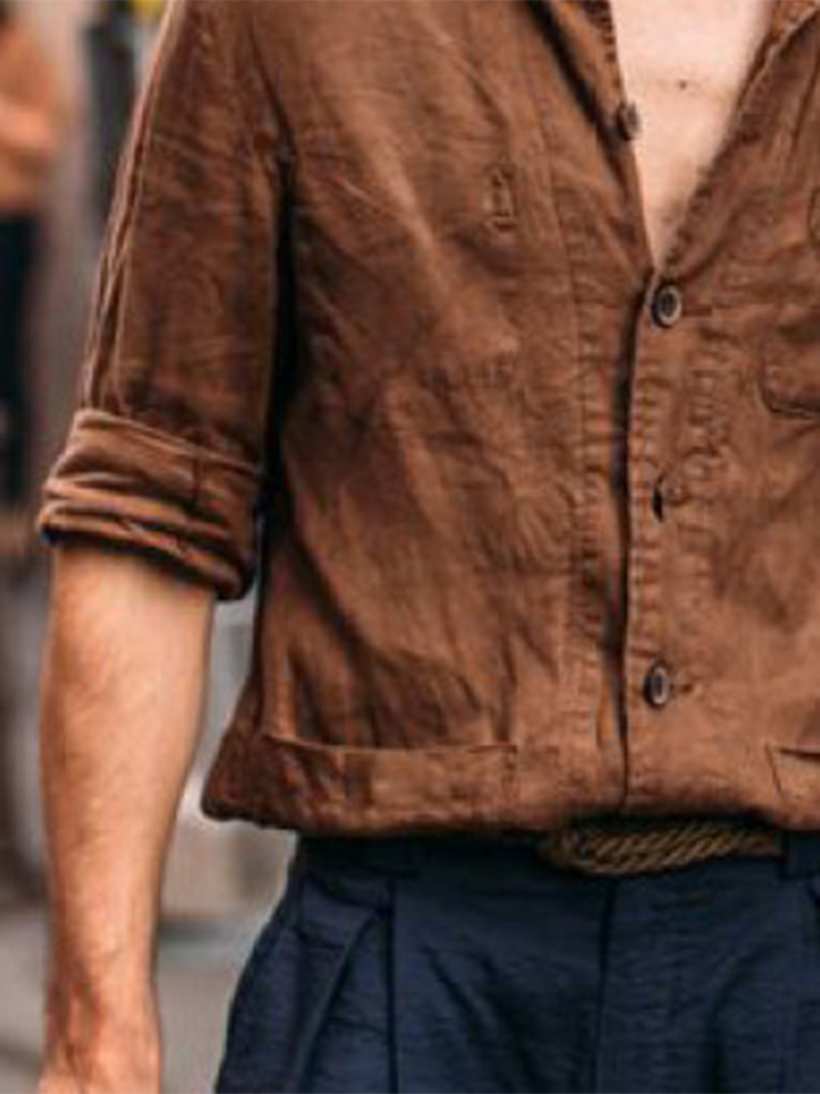 Brown Casual Plain Shirts & Tops