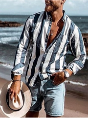 Blue Shirt Collar Cotton-Blend Striped Casual Shirts & Tops