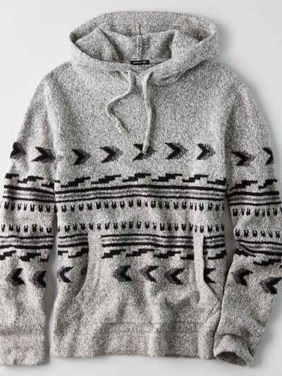 Men's Gray Basic Cotton-Blend Hoodie Tribal Sweatshirt