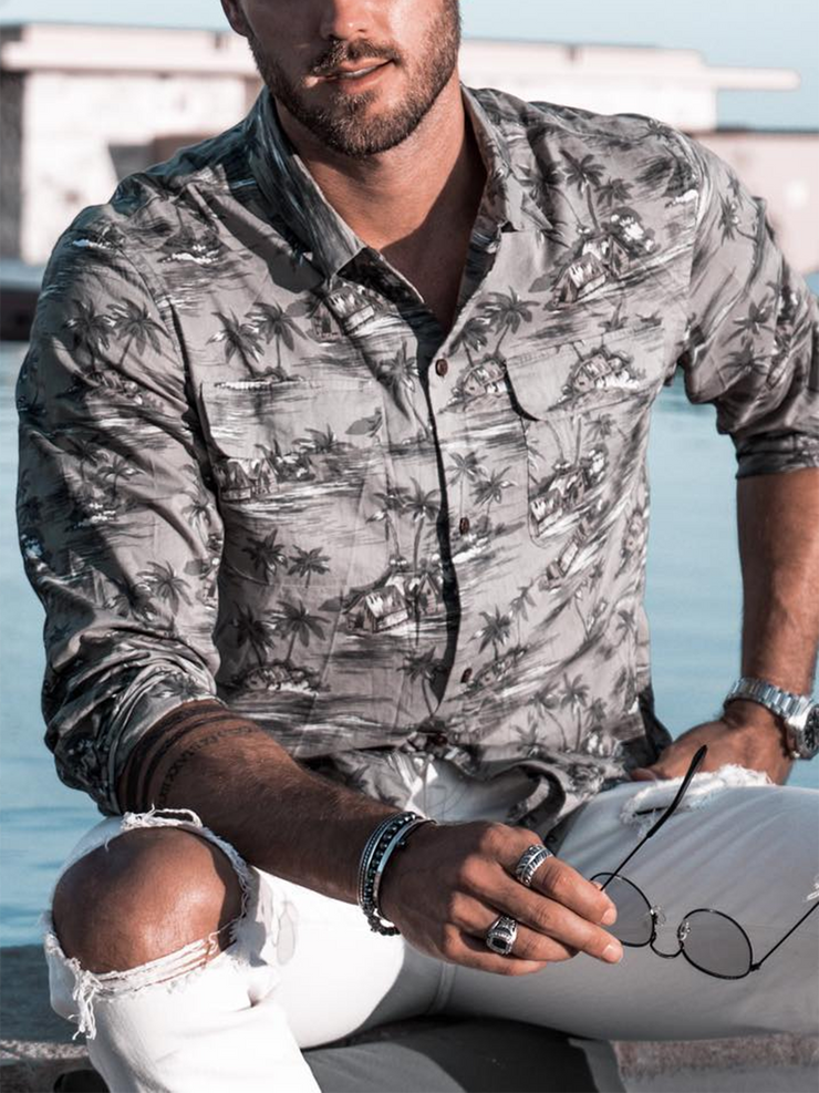 Gray Casual Cotton-Blend Coconut Tree Shirt Collar Shirts & Tops