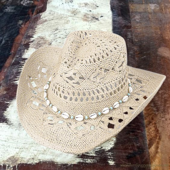 Western cowboy hat straw hat hollow paper rope woven handmade beaded sunshade casual hat