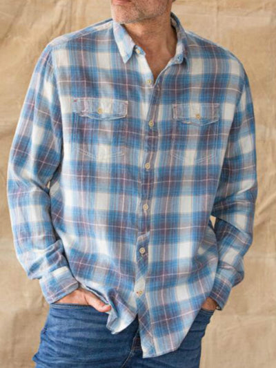 Blue Vintage V Neck Cotton Shirts & Tops