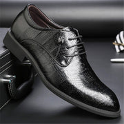 Men Classic Crocodile Pattern Pointed Toe Business Dress Shoes