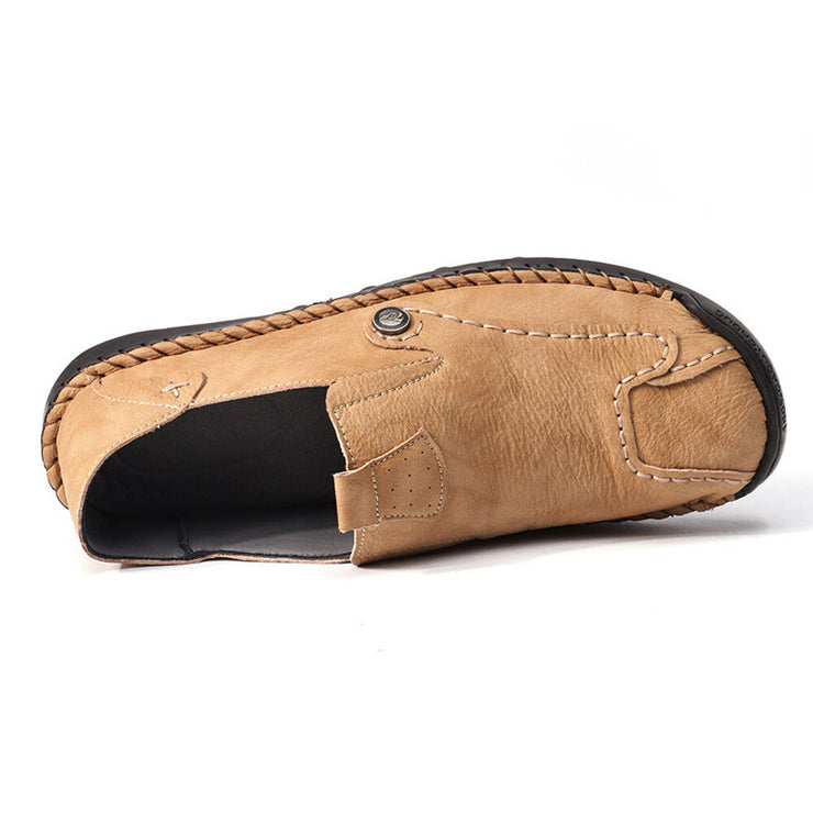 Men Hand Stitching Soft Slip On Comfort Leather Loafers