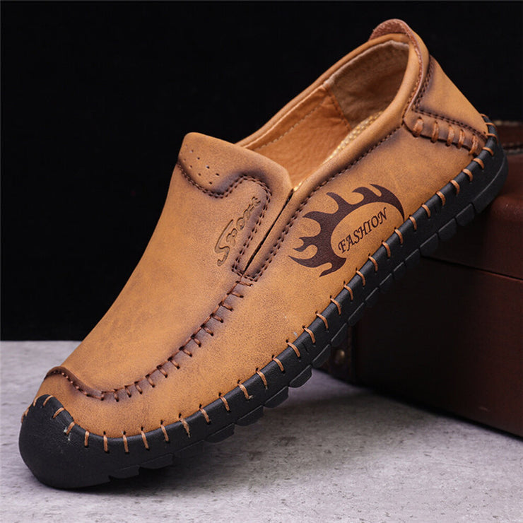 Men Hand Stitching Toe Protective Slip On Driving Leather Loafers