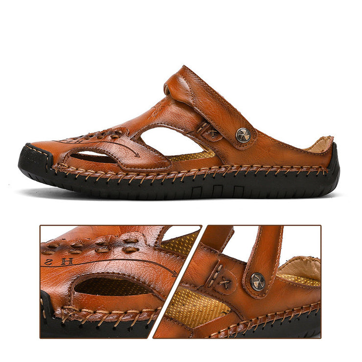 Large Size Men Hand Stitching Closed Toe Comfy Soft Leather Sandals