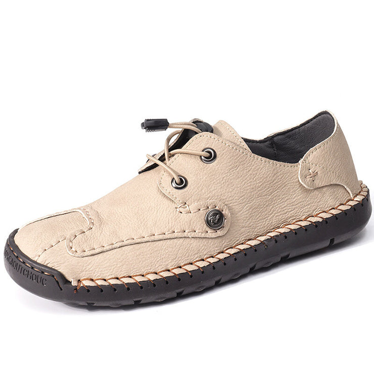 Men Hand Stitching Leather Non Slip Elastic Lace Casual Shoes