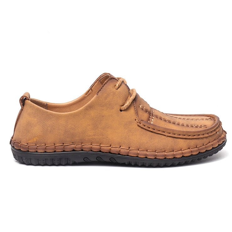 Men Hand Stitching Comfort Microfiber Leather Soft Casual Shoes