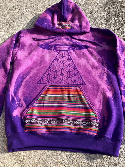 Purple Hoodie Cotton-Blend Boho Sweatshirt
