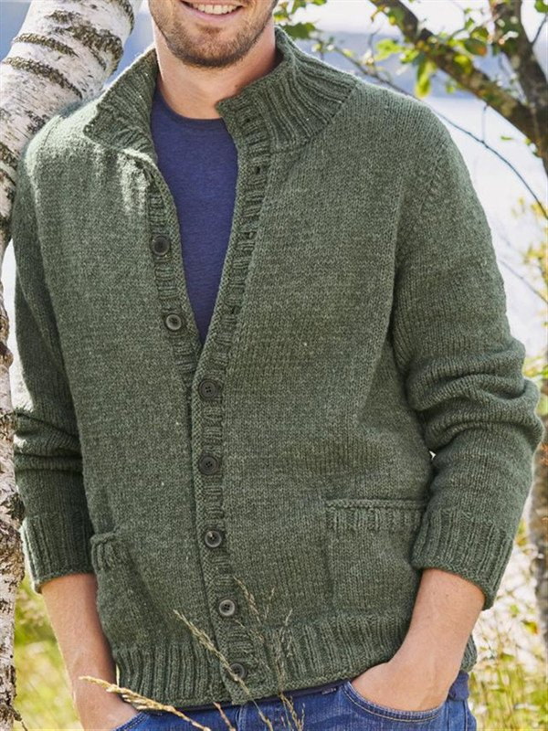 Green Casual Solid Stand Collar Outerwear