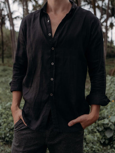 Casual Solid Linen Shirts & Tops