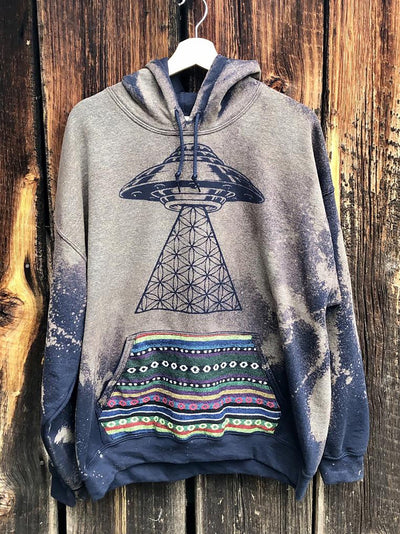 Gray Hoodie Vintage Cotton-Blend Sweatshirt