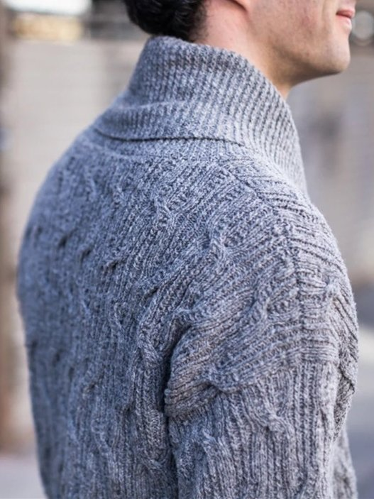 Cotton-Blend Casual Shawl Neck Sweater