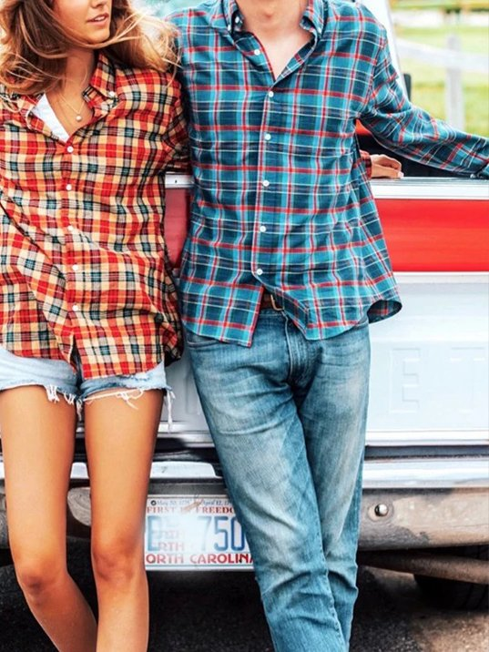 As Picture Square Neck Casual Plaid Shirts & Tops