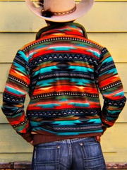 Men's Orange Tribal Casual Printed Sweatshirt