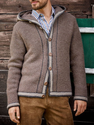 Light Brown Casual Wool Blend Hoodie Solid Sweater
