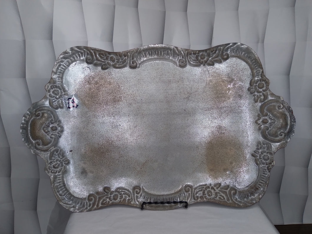 Distressed Silver Tray With Legs