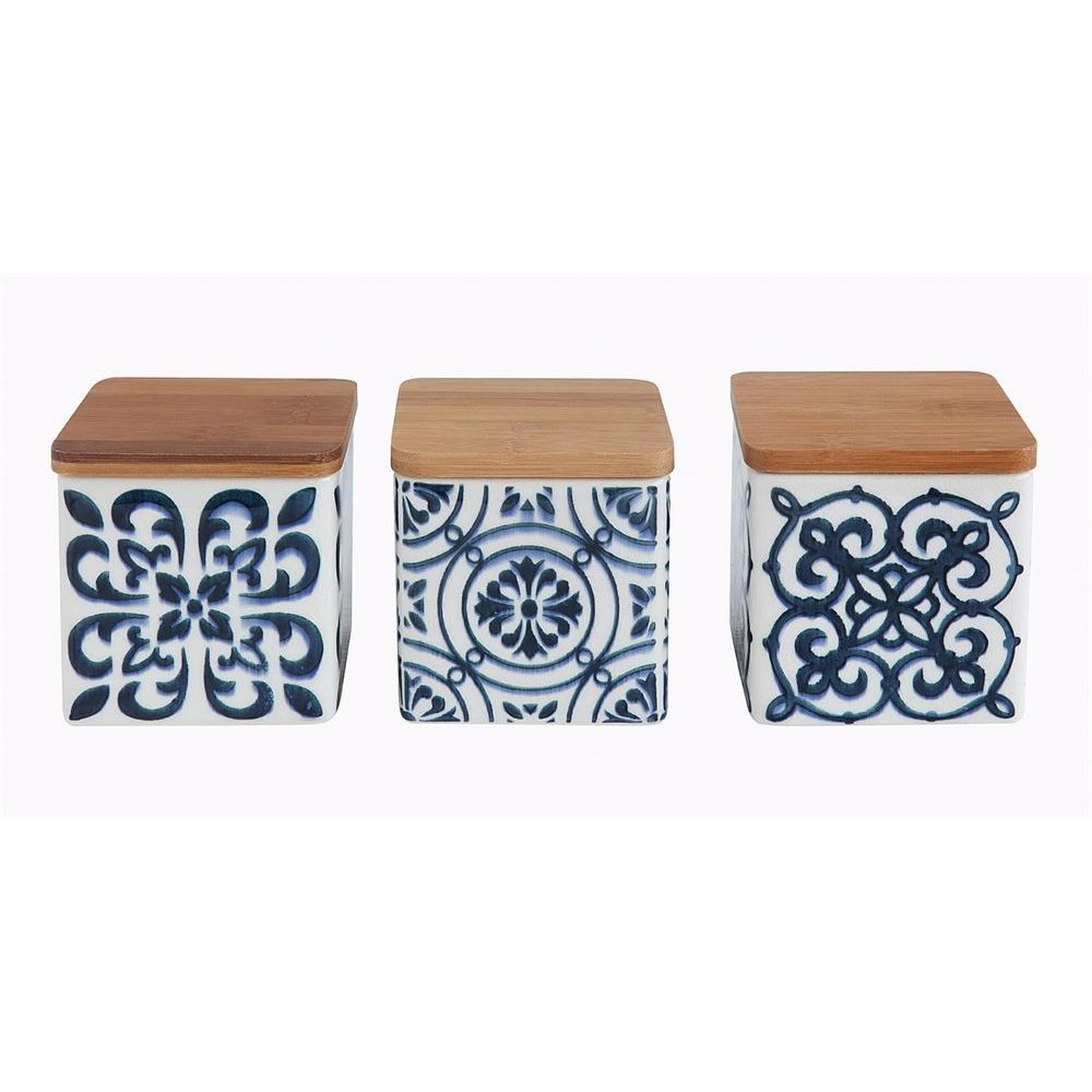Assorted White & Blue Patterned Jars with Wood Lids