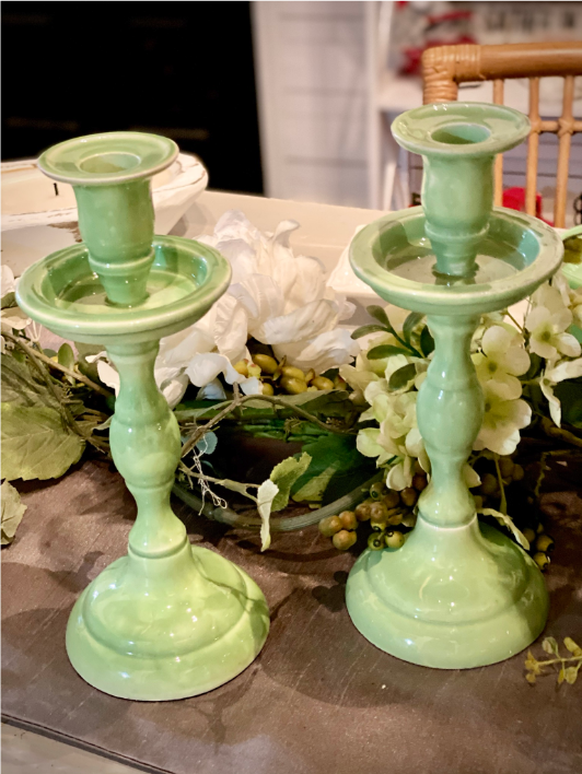 Mint Green Ceramic Candle Sticks/Candle Holders