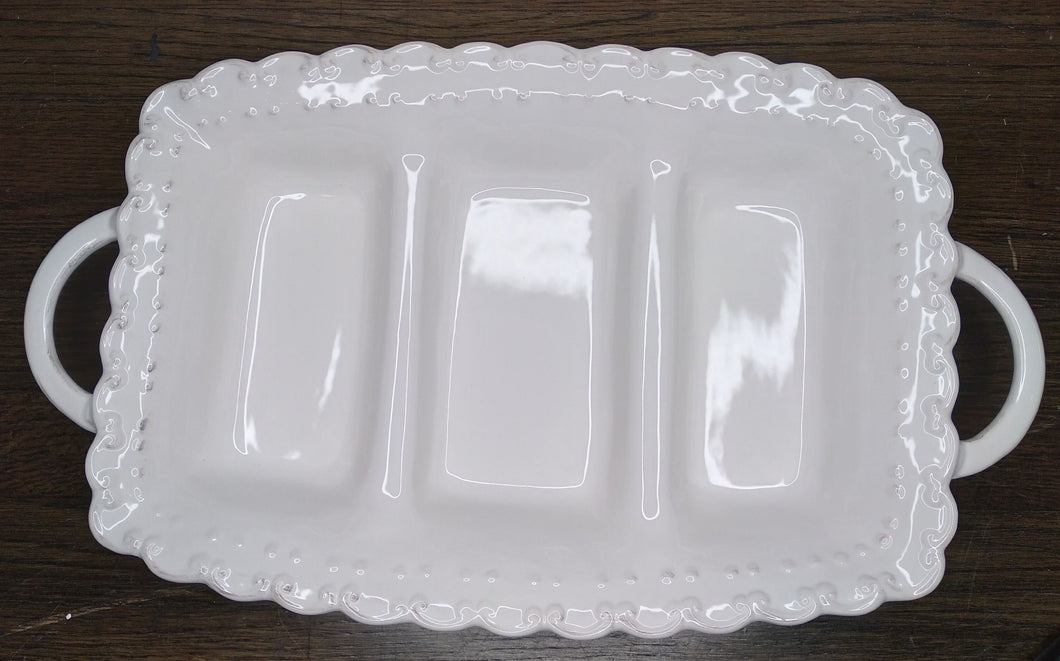 White Glass Divided Tray