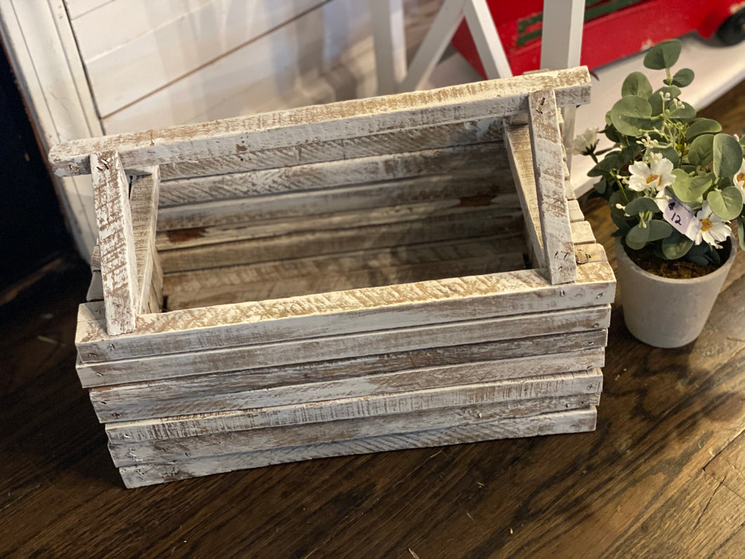 Distressed White Slat Toolbox