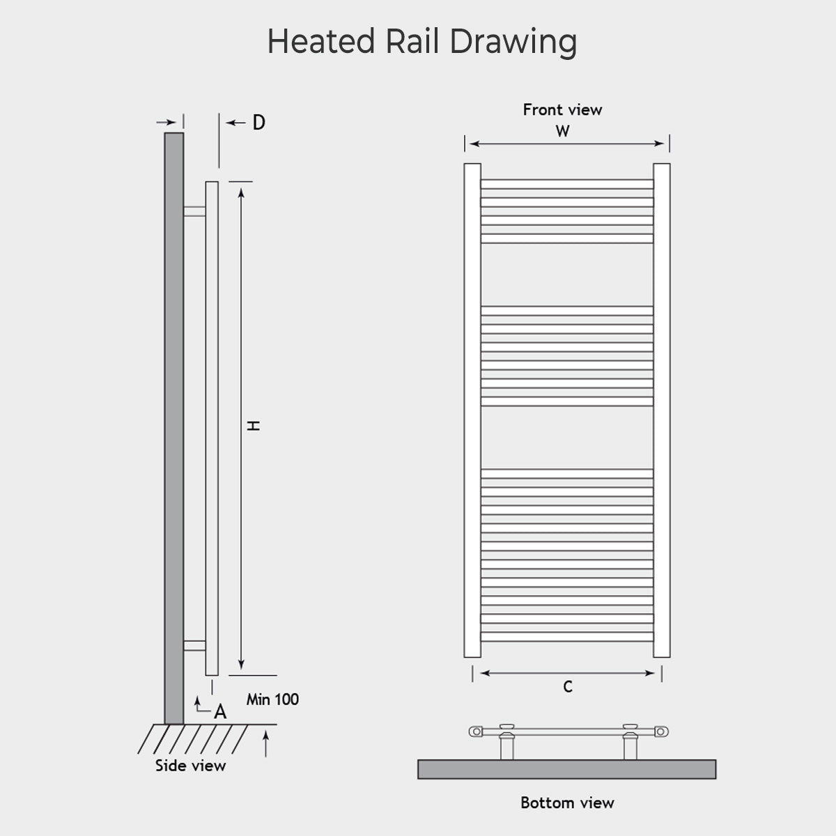 Madrid Heated Towel Rail Drawing
