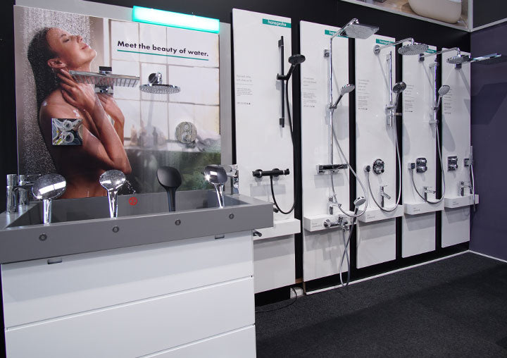 Hansgrohe test stand at deluxe bathrooms