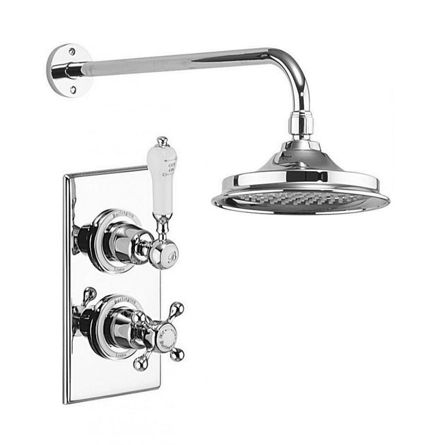 Burlington Trent Thermostatic Single Outlet Concealed Shower Valve with Fixed Head