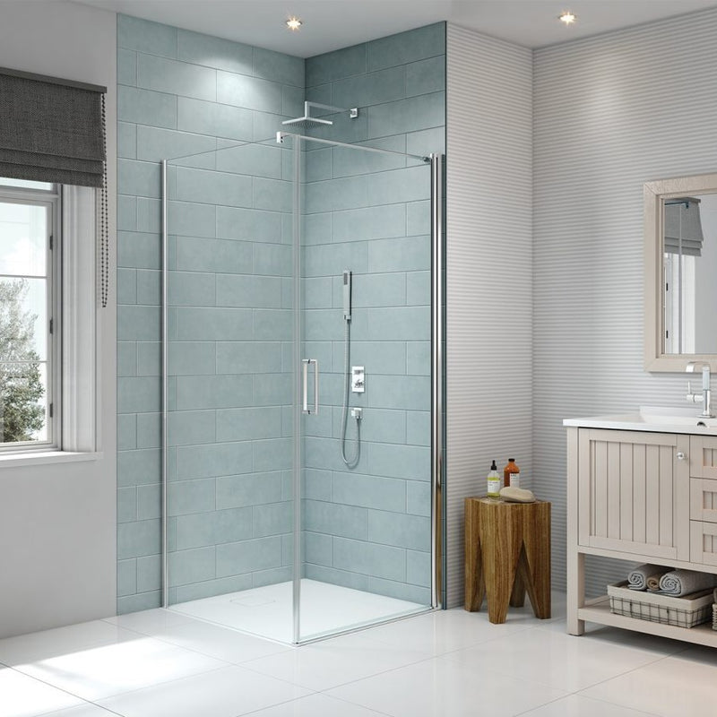 Merlyn 8 Series Frameless Pivot Shower Door With Side Panel