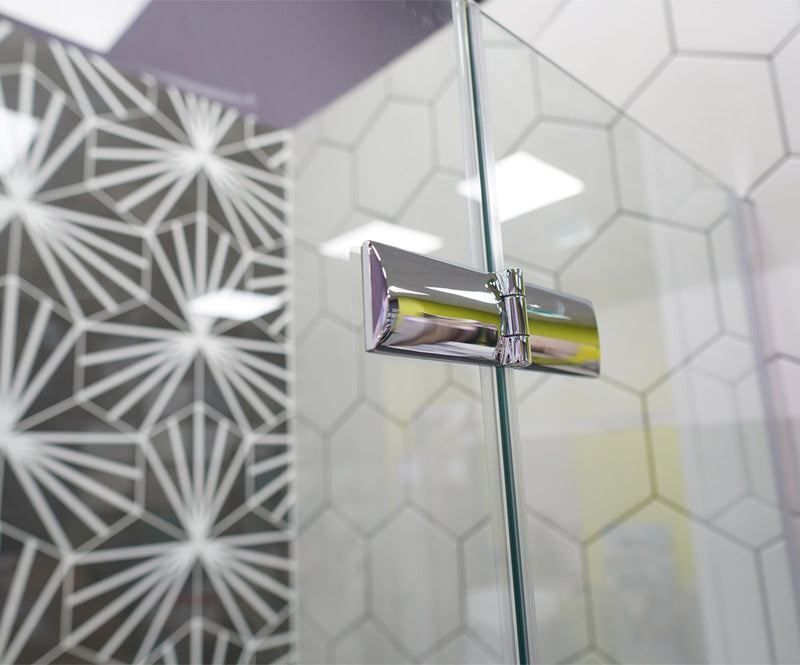 Merlyn 8 Series Frameless Hinged Bi-Fold Shower Door In Recess