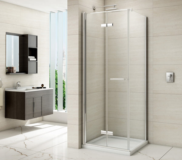 Merlyn 8 Series Frameless Hinged Bi-Fold Shower Door With Side Panel
