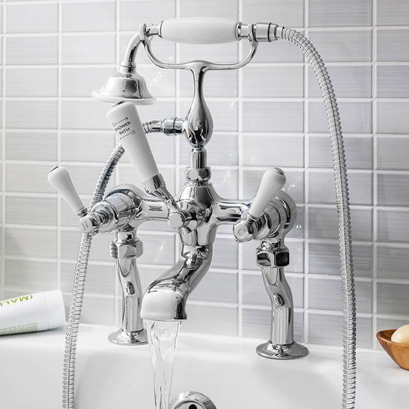 Belgravia Lever Bath Shower Mixer With Handheld Kit - Chrome