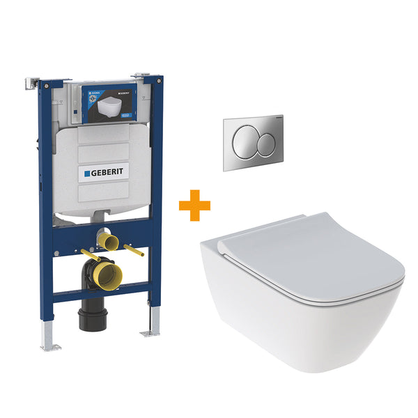 Geberit Smyle Wall Hung WC with Geberit Toilet Frame & Cistern