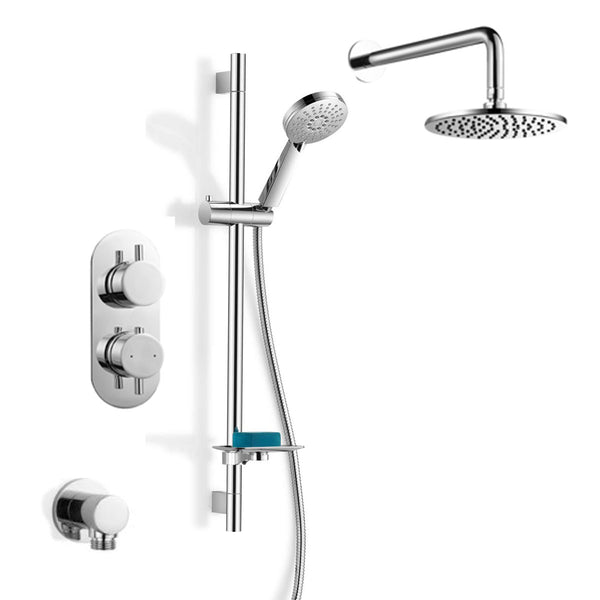 Georgia Thermostatic Concealed Double Outlet Shower Valve, Handset & Showerhead