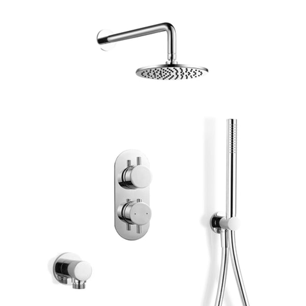 Georgia Thermostatic Concealed Double Outlet Shower Valve With Round Pencil Handset Kit & Eco 200mm Showerhead