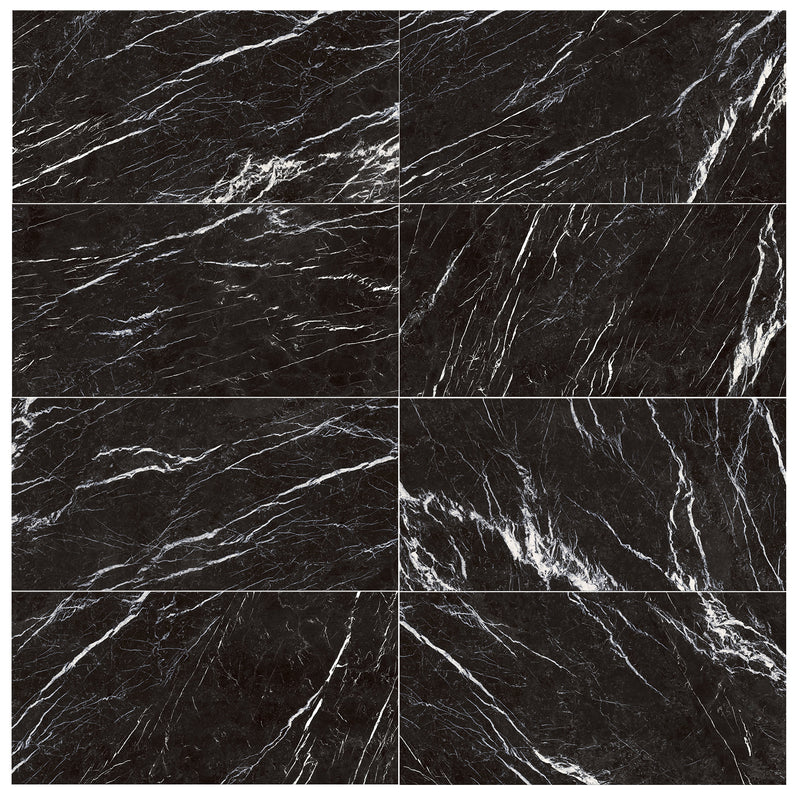 Marquina Black Marble Effect Tile Polished 60x120cm