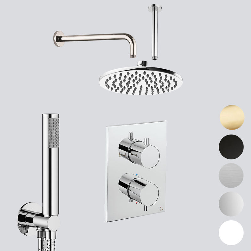 Crosswater MPRO Dual Outlet Concealed Thermo Shower Valve With Shower Handset Kit & Fixed Showerhead