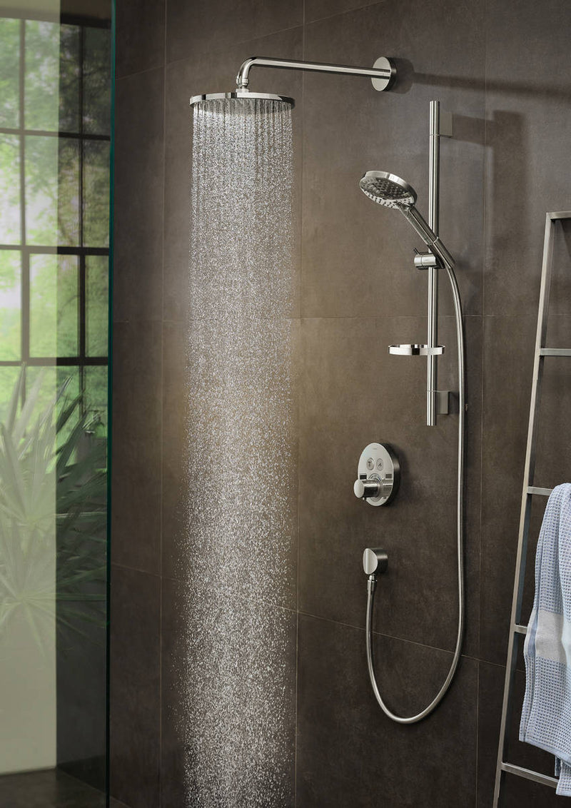Hansgrohe Powder Rain Overhead Shower With Powder Rail Kit and Round Valve