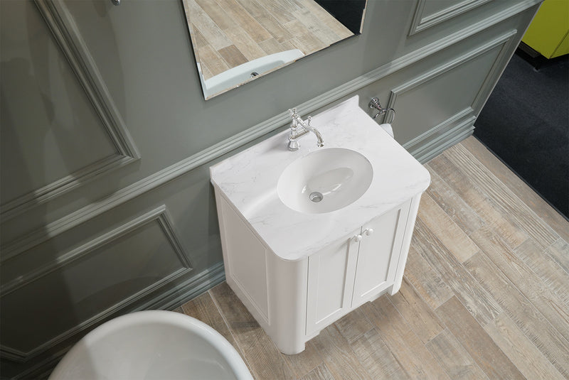 Shrewsbury 700mm 2 Door Floor Standing Vanity Unit With Carrara Marble Worktop & Basin