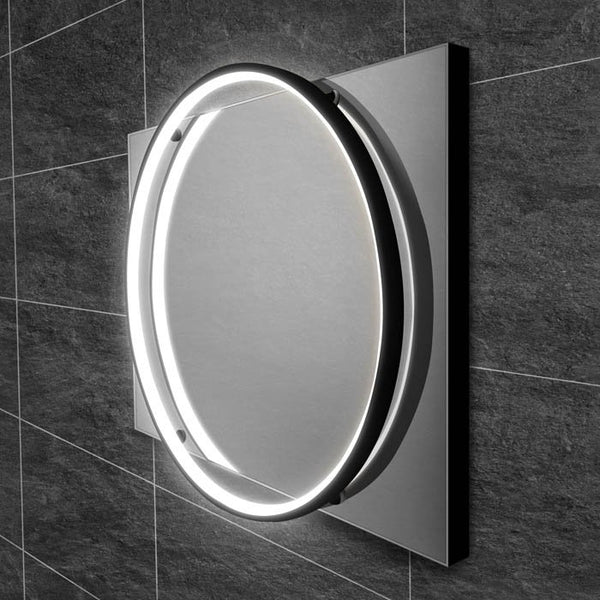 HiB Solas LED Illuminated Black Frame Mirror With Demister Pad